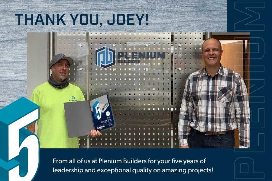 Joey Orr hits 5 year service mark